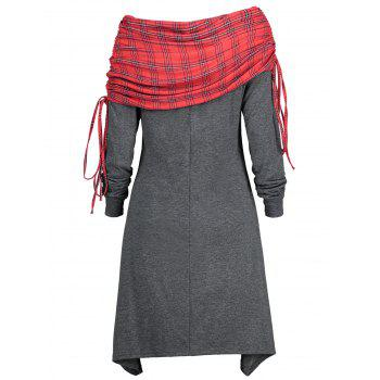 Long Sleeve Drawstring Tartan Panel Dress - GRAY M