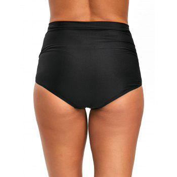 Ruched High Waist Beach Swim Bottom - BLACK BLACK