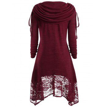 Button Embellished Floral Lace Asymmetrical Tee - WINE RED XL