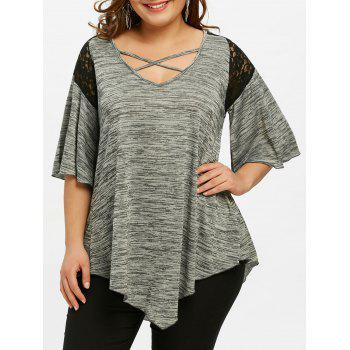 Flare Sleeve Plus Size Asymmetrical Tunic T-shirt