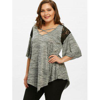 Flare Sleeve Plus Size Asymmetrical Tunic T-shirt - GRAY 5XL