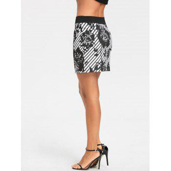 Floral Stripe Printed Mini Pencil Skirt - WHITE/BLACK XL