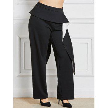 Plus Size Wide Leg Pants with Ruffles Detail - BLACK 3XL