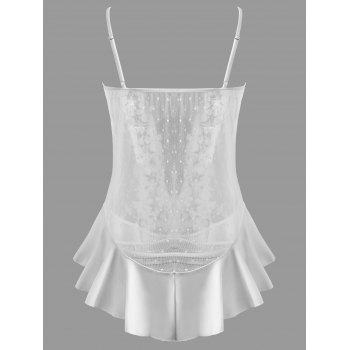 Flounce Plus Size Mesh Sheer Babydoll Set - WHITE 7XL