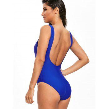 High Leg Low Back One Piece Swimsuit - BLUE XL
