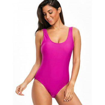 High Leg Low Back One Piece Swimsuit - PURPLISH RED L