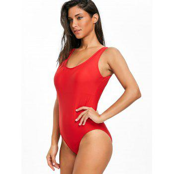 High Leg Low Back One Piece Swimsuit - RED XL