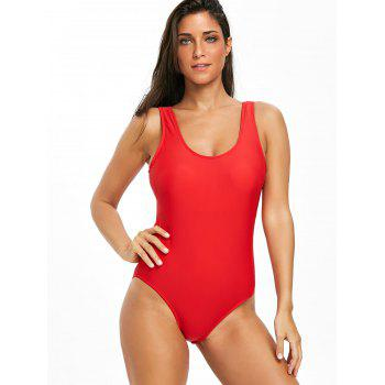 High Leg Low Back One Piece Swimsuit - RED L