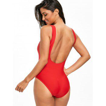 High Leg Low Back One Piece Swimsuit - RED M