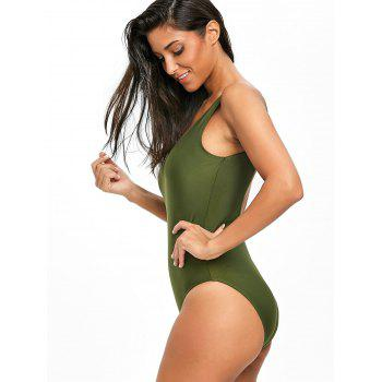 High Leg Low Back One Piece Swimsuit - ARMY GREEN XL