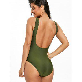 High Leg Low Back One Piece Swimsuit - ARMY GREEN ARMY GREEN