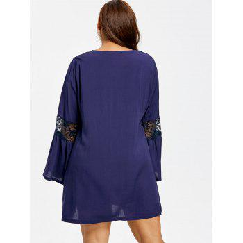Plus Size Bell Sleeve Lace Insert Swing Dress - CADETBLUE XL