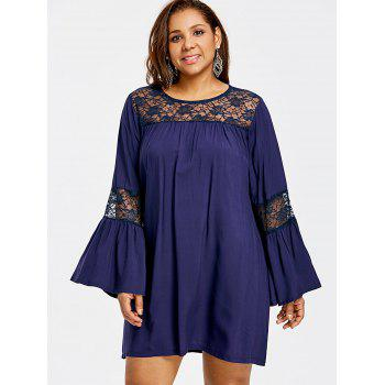 Plus Size Bell Sleeve Lace Insert Swing Dress - CADETBLUE CADETBLUE