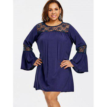 Plus Size Flare Sleeve Babydoll Dress - CADETBLUE 3XL