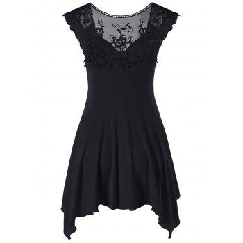 Lace Panel Cap Sleeve Asymmetric Top - BLACK XL