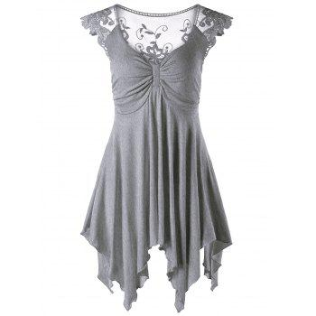 Lace Panel Cap Sleeve Asymmetric Top - GRAY GRAY