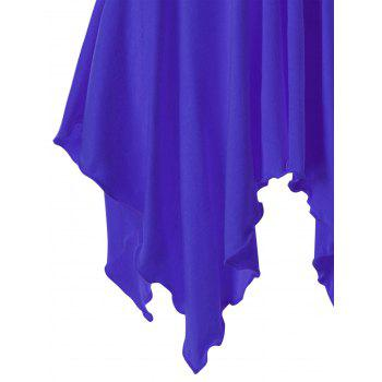 Lace Panel Cap Sleeve Asymmetric Top - BLUE BLUE
