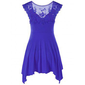 Lace Panel Cap Sleeve Asymmetric Top - BLUE L