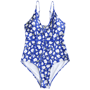 Plus Size Floral Piping Cut Out Swimwear - BLUE 2XL