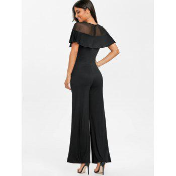 Embroidery Mesh Insert Palazzo Jumpsuit - BLACK 2XL