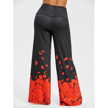 Plus Size Rose Petal Printed Pants - BLACK/RED 5XL