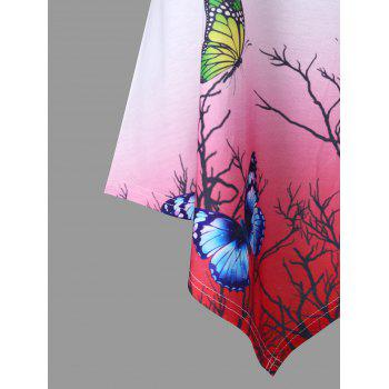 Butterfly Print Ombre Color Swing Tank Top - WHITE M