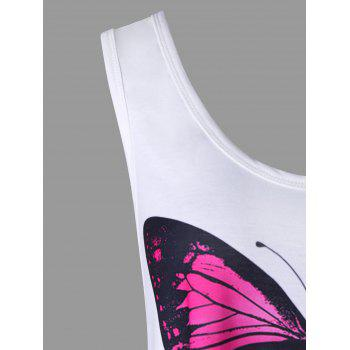 Butterfly Print Ombre Color Asymmetrical Tank Top - WHITE 2XL