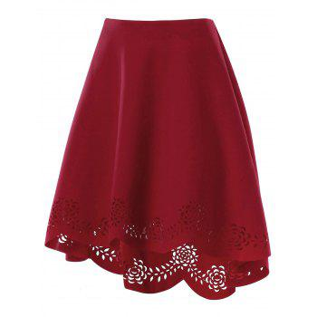 Openwork Scalloped High Low Hem Skirt - WINE RED XL