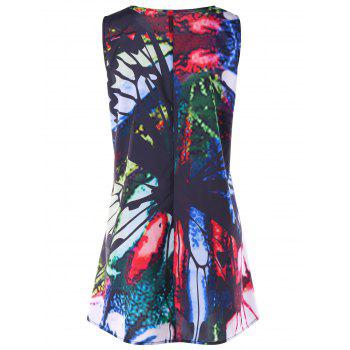 Printed Mini Swing Trapeze Dress - COLORMIX M