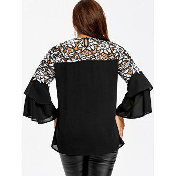 Plus Size Flare Sleeve Hollow Out Blouse - BLACK XL