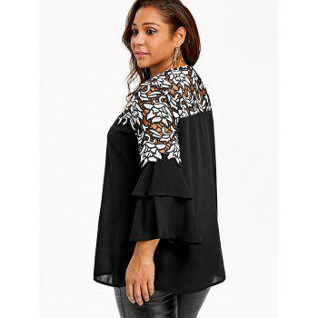 Plus Size Flare Sleeve Hollow Out Blouse - BLACK 2XL