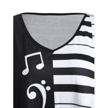 Plus Size Piano Keyboard Printed Tunic T-shirt - BLACK XL