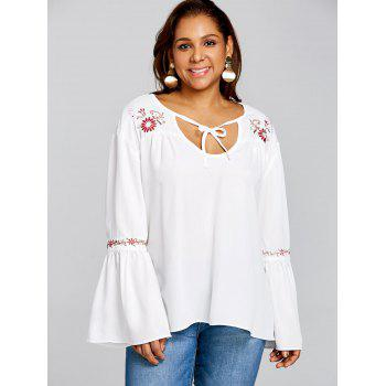 Plus Size Bell Sleeve Embroidered Blouse - WHITE 2XL
