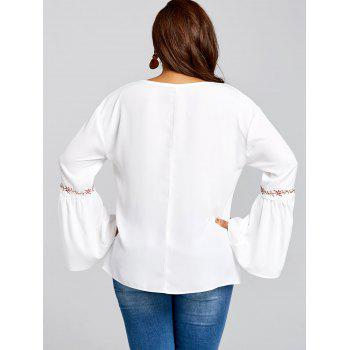 Plus Size Bell Sleeve Embroidered Blouse - WHITE 5XL