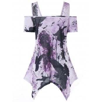 Tie Dye Cold Shoulder Asymmetrical T-shirt - LIGHT PURPLE L