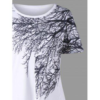 Front Knot Tree Branch Print T-shirt - WHITE M