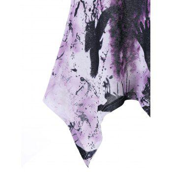 Tie Dye Cold Shoulder Asymmetrical T-shirt - LIGHT PURPLE XL