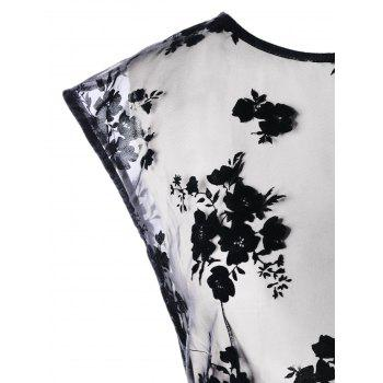 Embroidered Sheer Long Tail Blouse - BLACK 2XL