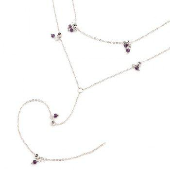 Metal Chain Artificial Crystal Lariat Necklace - SILVER