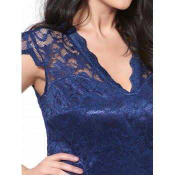 Plus Size Sheath Lace Dress - DEEP BLUE 2XL