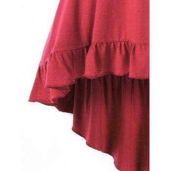 High Low Lace Up Flounce Empire Waist Blouse - RED M