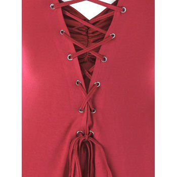 High Low Lace Up Flounce Empire Waist Blouse - RED L
