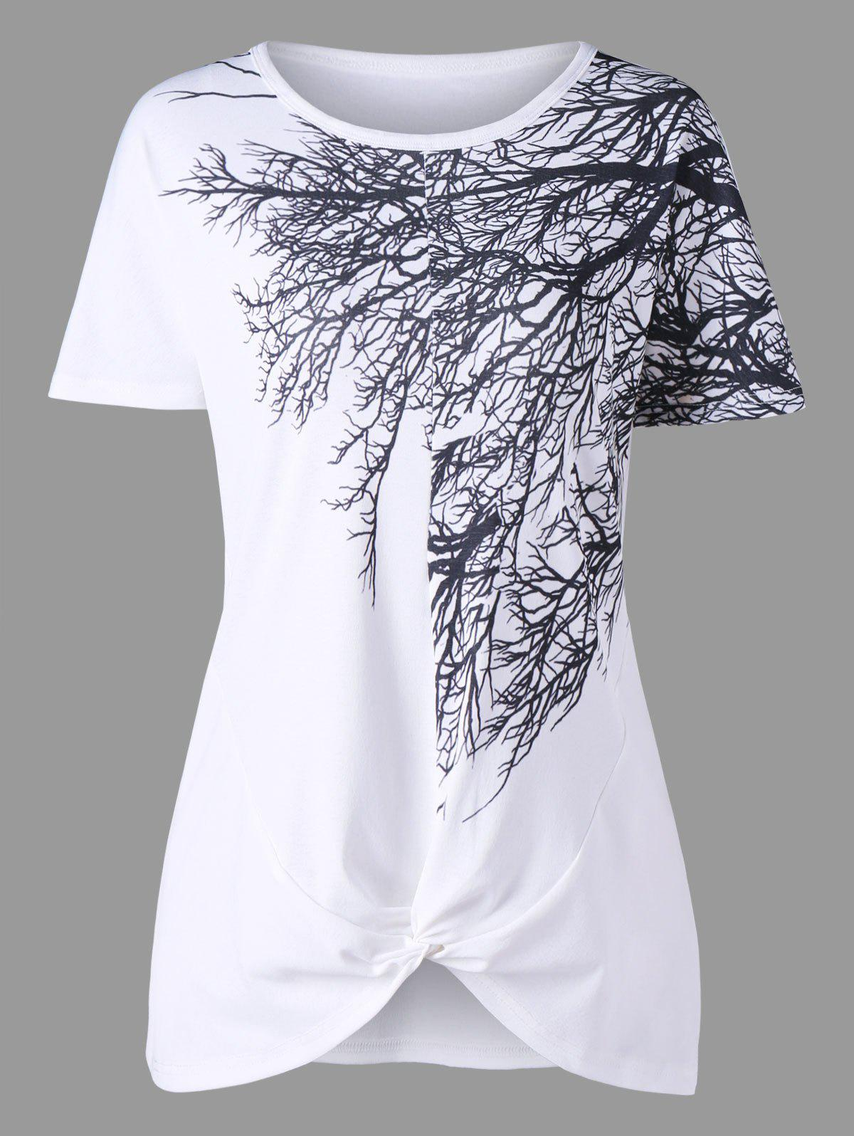 Front Knot Tree Branch Print T-shirt - WHITE XL