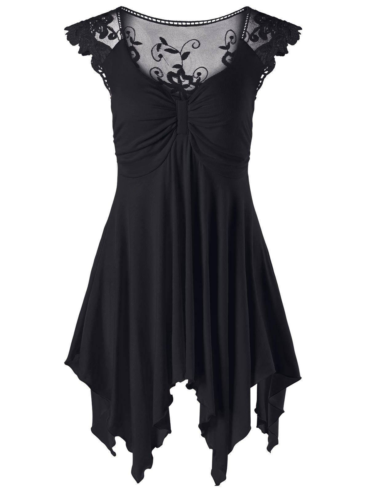 Lace Panel Cap Sleeve Asymmetric Top - BLACK L