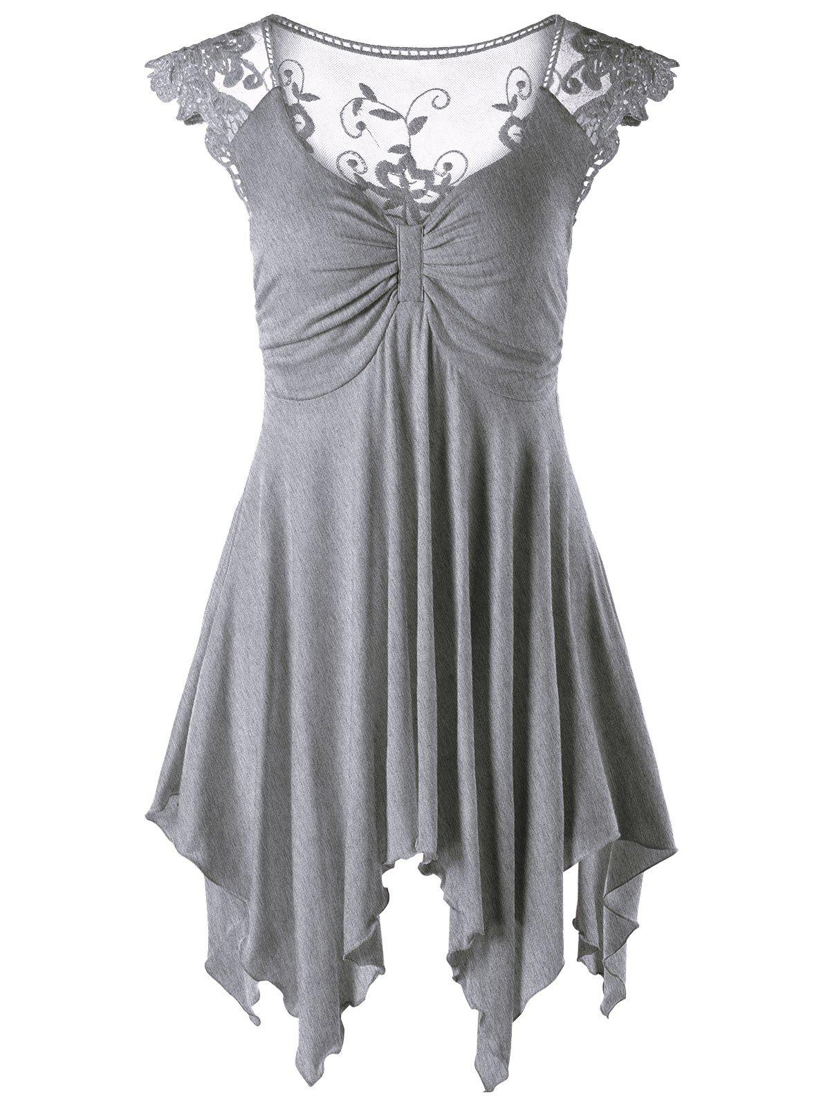 Lace Panel Cap Sleeve Asymmetric Top - GRAY L