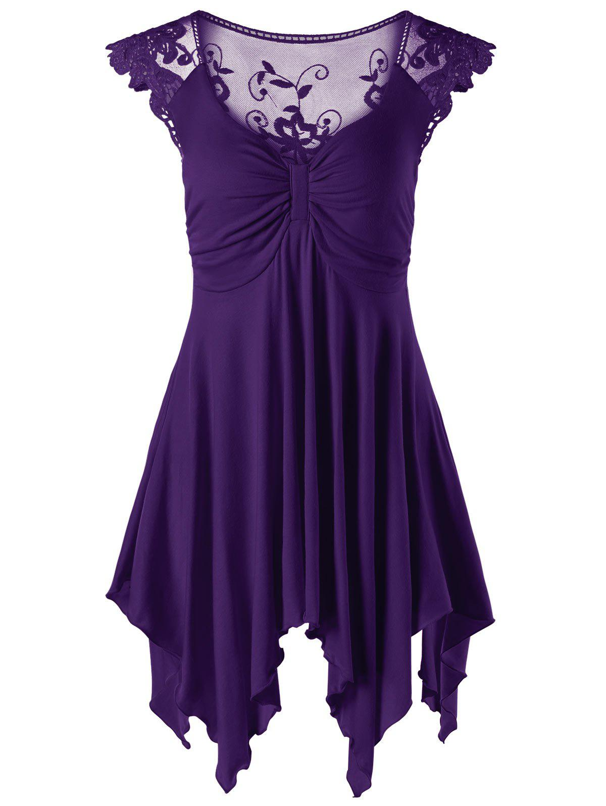 Lace Panel Cap Sleeve Asymmetric Top - PURPLE M