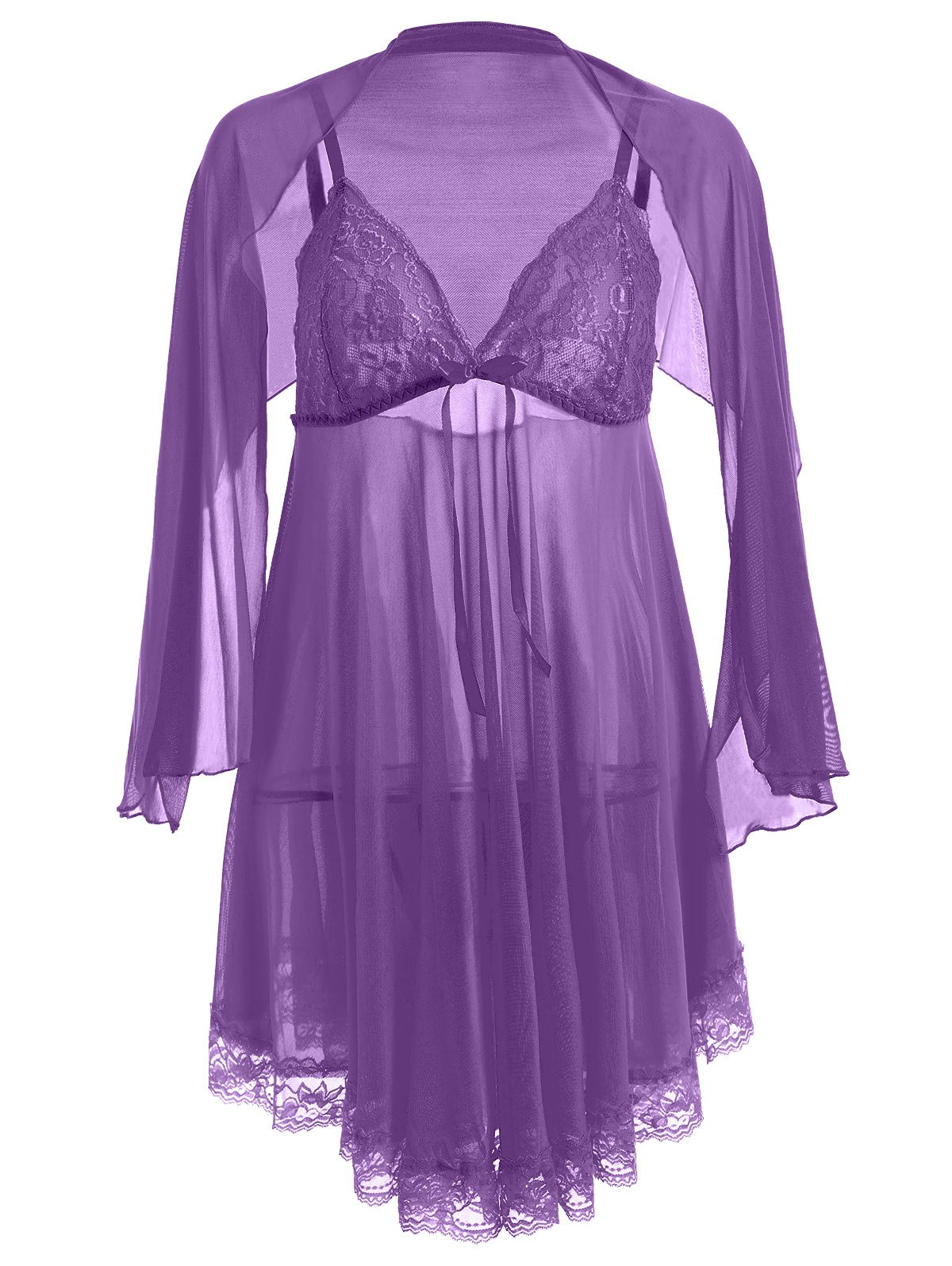 Plus Size Mesh Sheer Babydoll Dress with Cape sheer plus size mesh slip babydoll