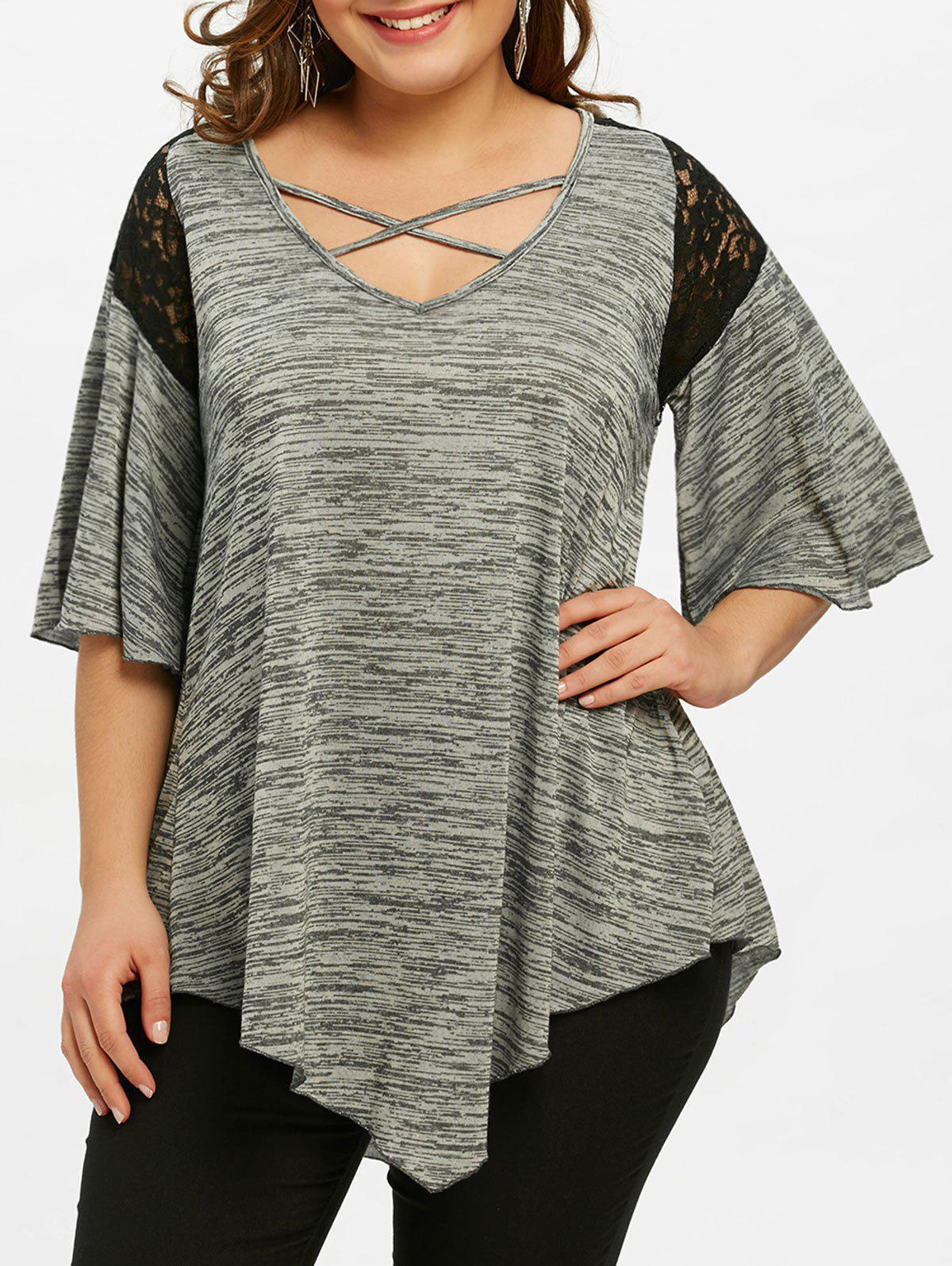Flare Sleeve Plus Size Asymmetrical Tunic T-shirt asymmetrical plus size flare sleeve tunic t shirt