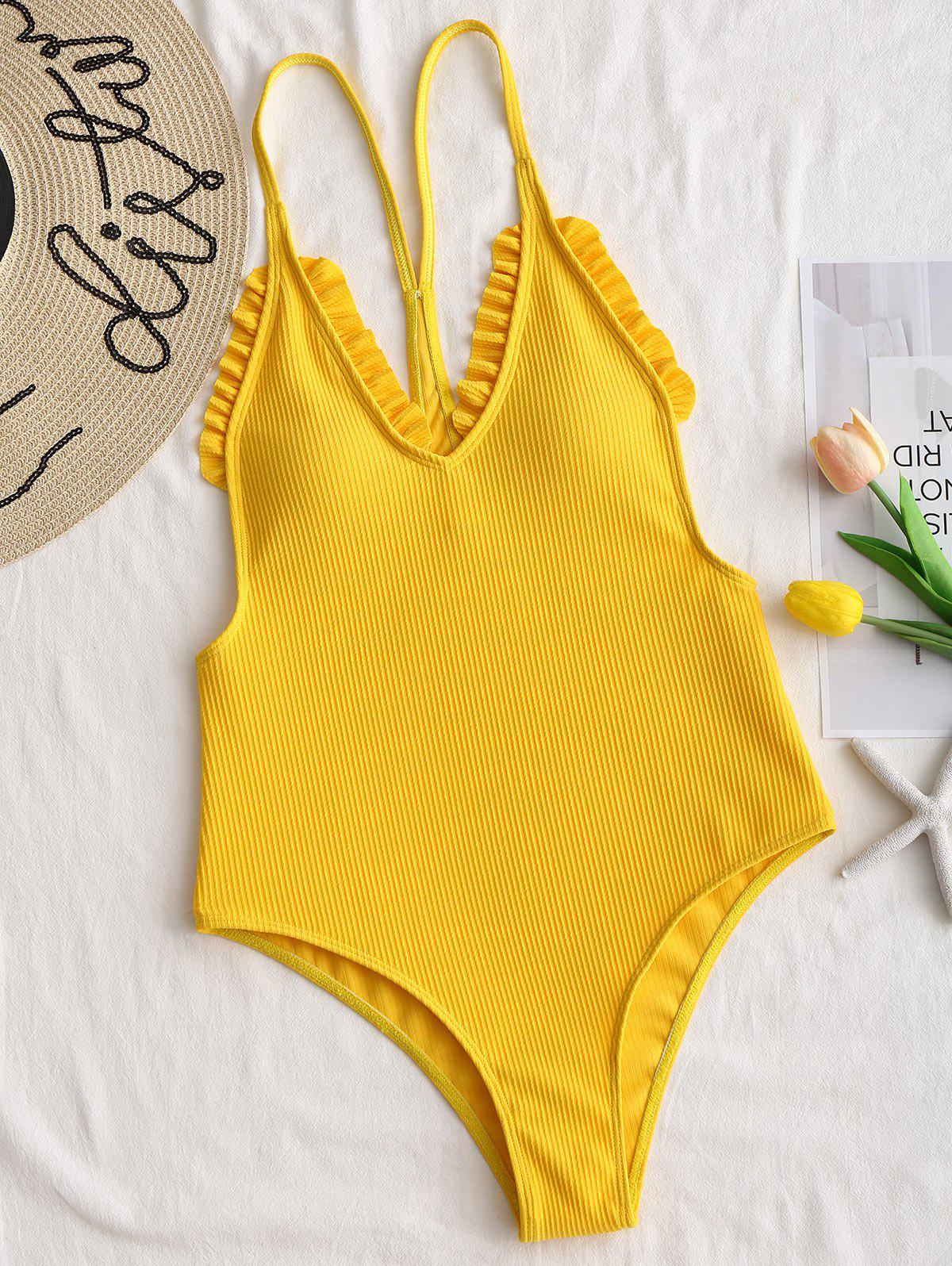 Ribbed Frilled Trim One Piece Swimsuit - YELLOW M