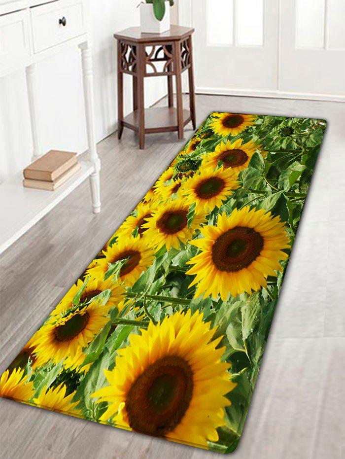 Sunflower Print Skidproof Flannel Bath Rug vintage color block skidproof flannel bath rug